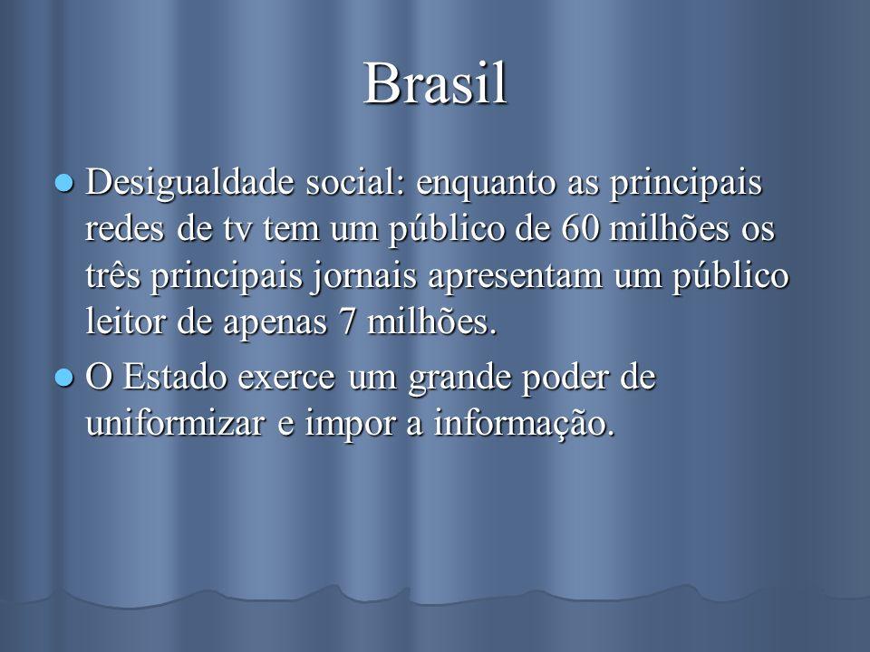 Brasil Desigualdade social: enquanto as principais redes de tv tem um público de 60 milhões os três principais jornais apresentam um público leitor de