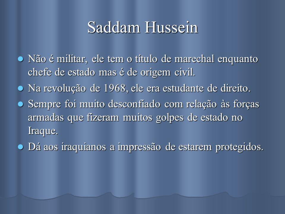 Saddam Hussein Não é militar, ele tem o título de marechal enquanto chefe de estado mas é de origem civil. Não é militar, ele tem o título de marechal