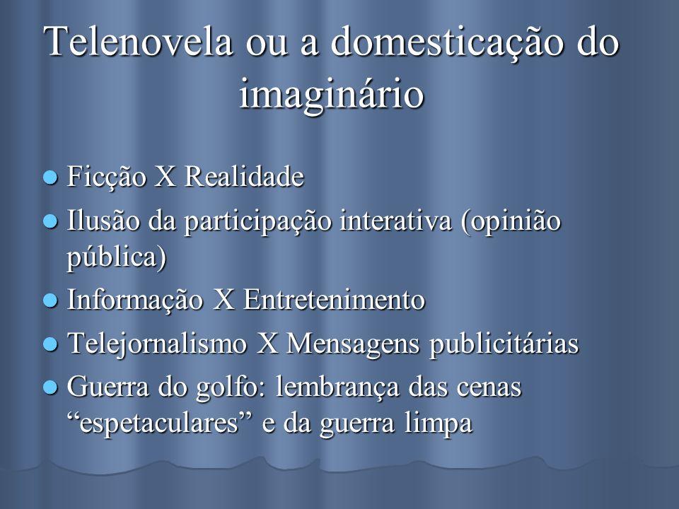 Telenovela ou a domesticação do imaginário Ficção X Realidade Ficção X Realidade Ilusão da participação interativa (opinião pública) Ilusão da partici