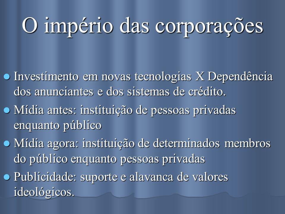O império das corporações Investimento em novas tecnologias X Dependência dos anunciantes e dos sistemas de crédito. Investimento em novas tecnologias