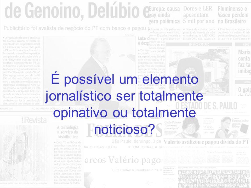 Elementos de Opinião: Charge Artigo Editorial Elementos Noticiosos: Reportagens Notícias Fotografias