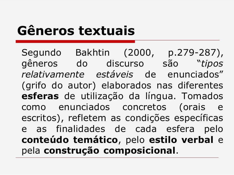 Gêneros textuais Segundo Bakhtin (2000, p.279-287), gêneros do discurso são tipos relativamente estáveis de enunciados (grifo do autor) elaborados nas
