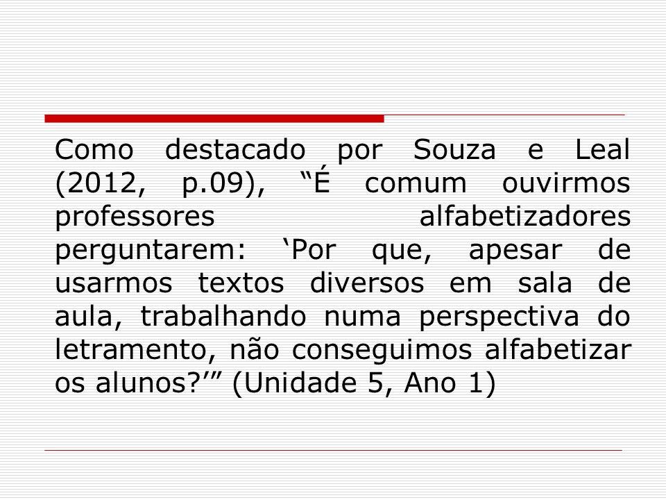 Como destacado por Souza e Leal (2012, p.09), É comum ouvirmos professores alfabetizadores perguntarem: Por que, apesar de usarmos textos diversos em
