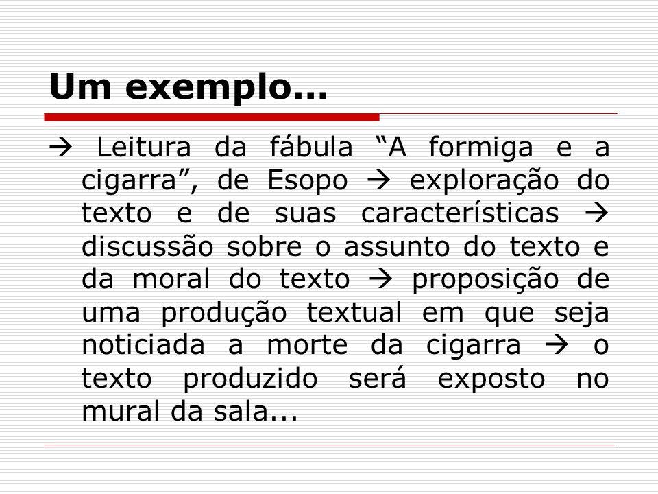 Um exemplo... Leitura da fábula A formiga e a cigarra, de Esopo exploração do texto e de suas características discussão sobre o assunto do texto e da