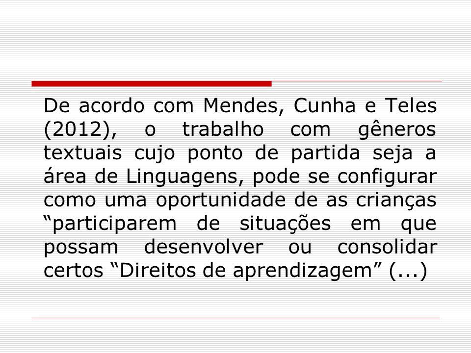 De acordo com Mendes, Cunha e Teles (2012), o trabalho com gêneros textuais cujo ponto de partida seja a área de Linguagens, pode se configurar como u