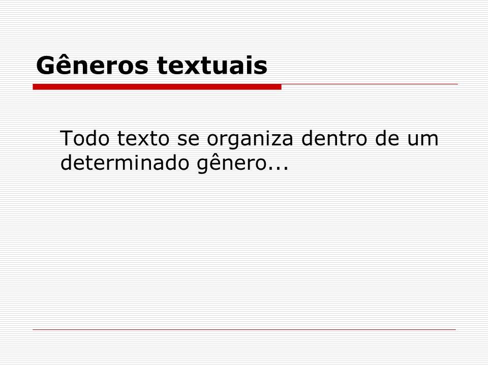 Gêneros textuais Todo texto se organiza dentro de um determinado gênero...