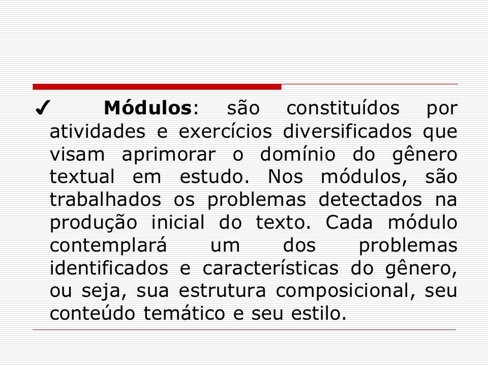 Módulos: são constituídos por atividades e exercícios diversificados que visam aprimorar o domínio do gênero textual em estudo. Nos módulos, são traba