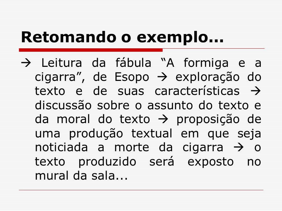 Retomando o exemplo... Leitura da fábula A formiga e a cigarra, de Esopo exploração do texto e de suas características discussão sobre o assunto do te