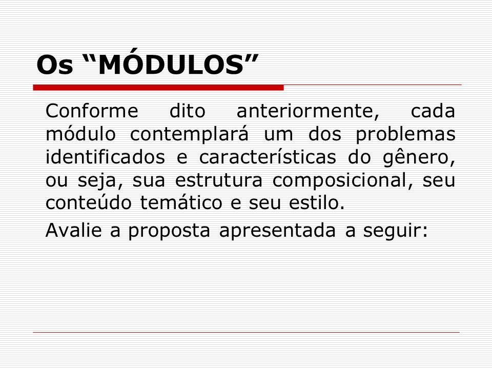 Os MÓDULOS Conforme dito anteriormente, cada módulo contemplará um dos problemas identificados e características do gênero, ou seja, sua estrutura com
