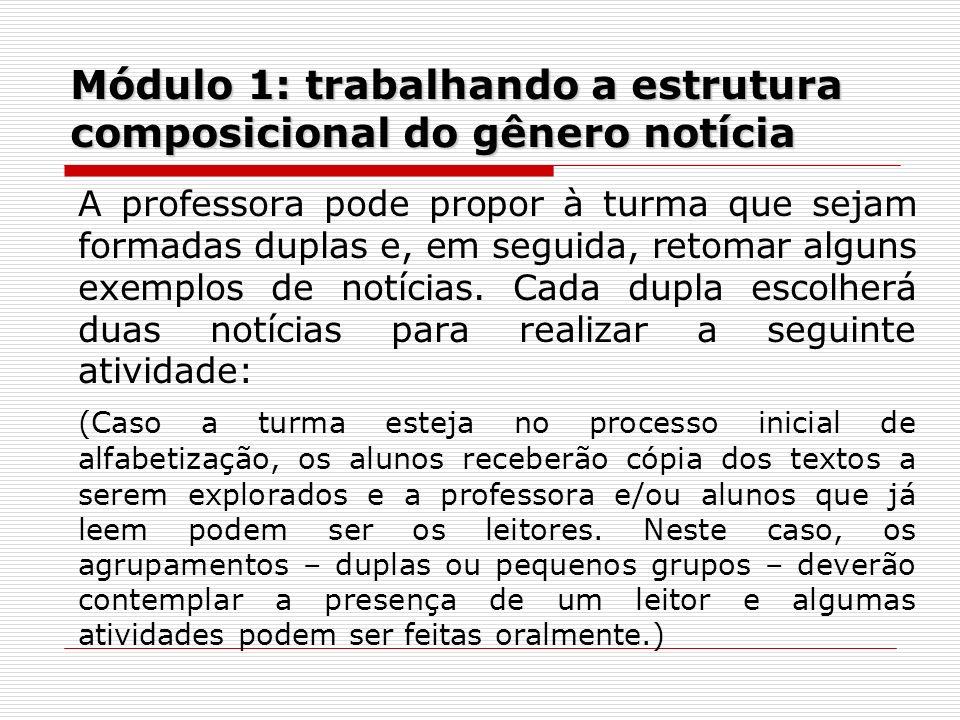 Módulo 1: trabalhando a estrutura composicional do gênero notícia A professora pode propor à turma que sejam formadas duplas e, em seguida, retomar al