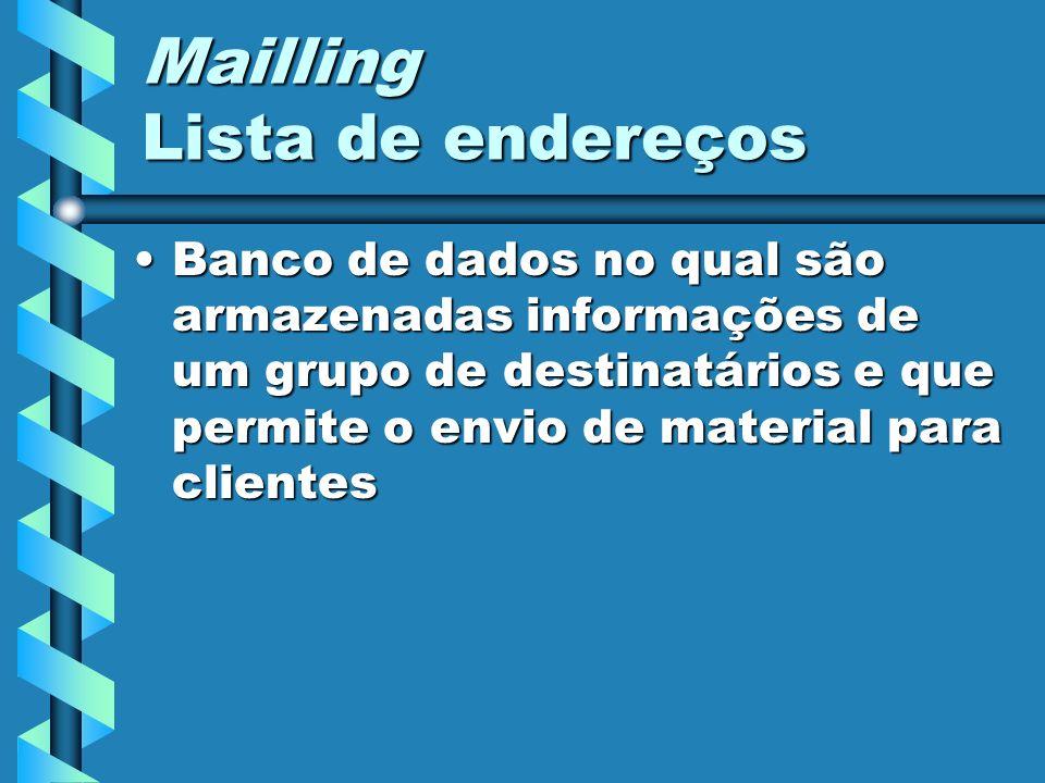 Mailling Lista de endereços Banco de dados no qual são armazenadas informações de um grupo de destinatários e que permite o envio de material para cli