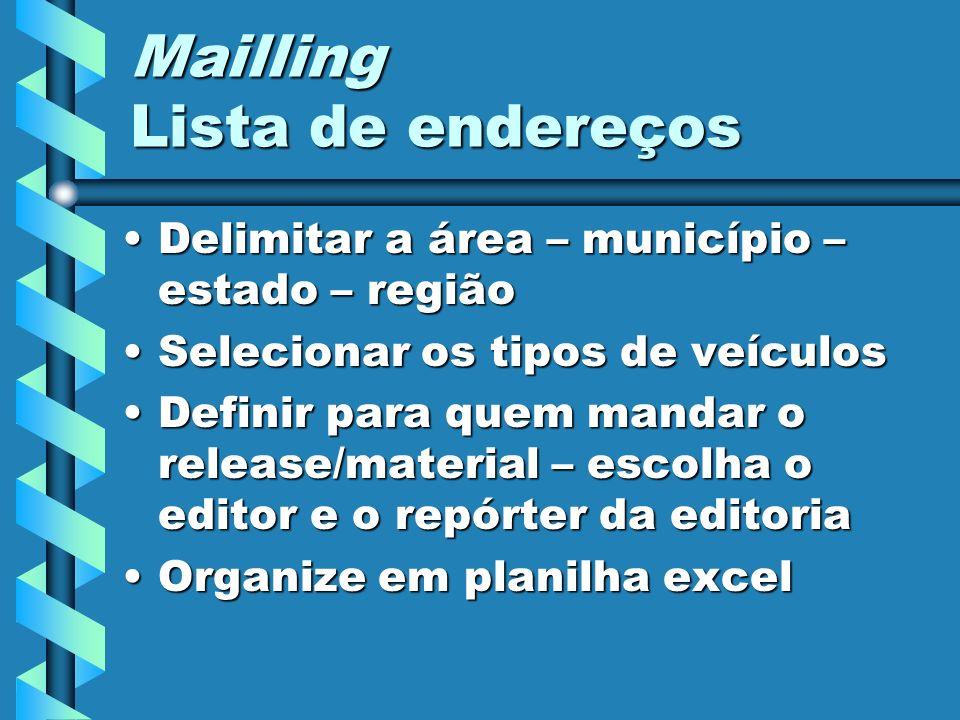 Mailling Lista de endereços Delimitar a área – município – estado – regiãoDelimitar a área – município – estado – região Selecionar os tipos de veícul