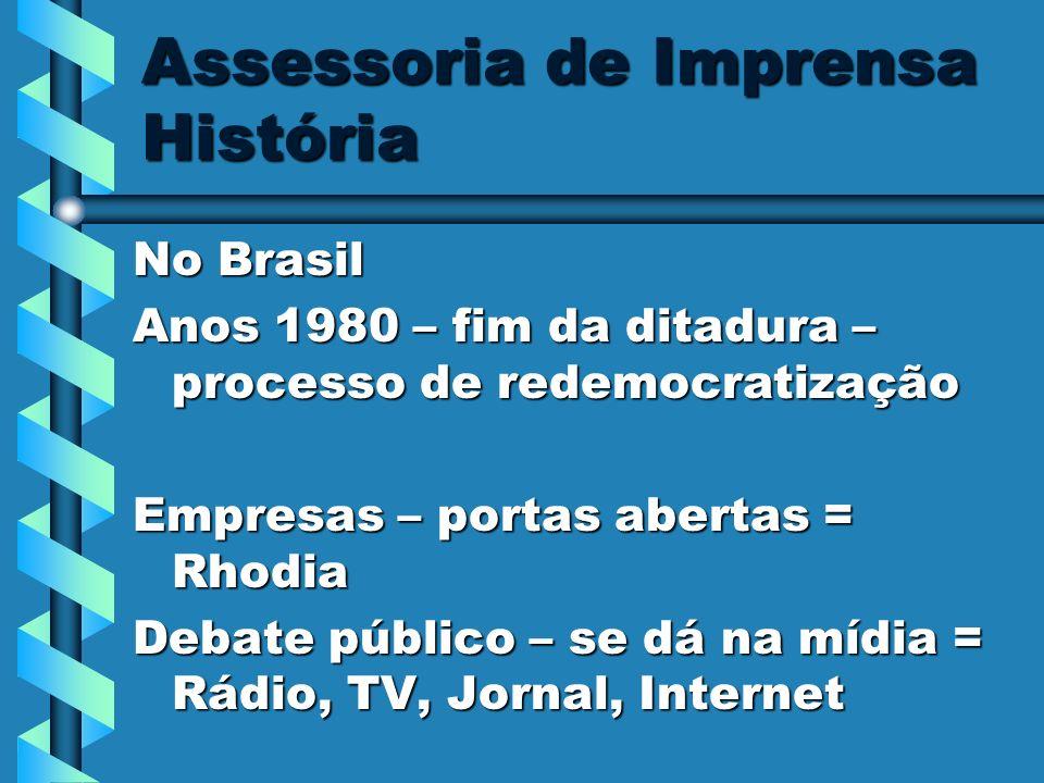 Assessoria de Imprensa História No Brasil Anos 1980 – fim da ditadura – processo de redemocratização Empresas – portas abertas = Rhodia Debate público