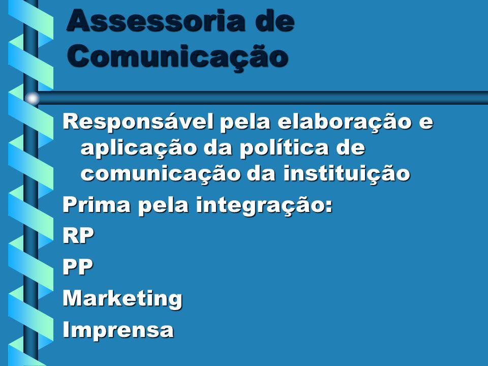 Assessoria de Comunicação Responsável pela elaboração e aplicação da política de comunicação da instituição Prima pela integração: RPPPMarketingImpren