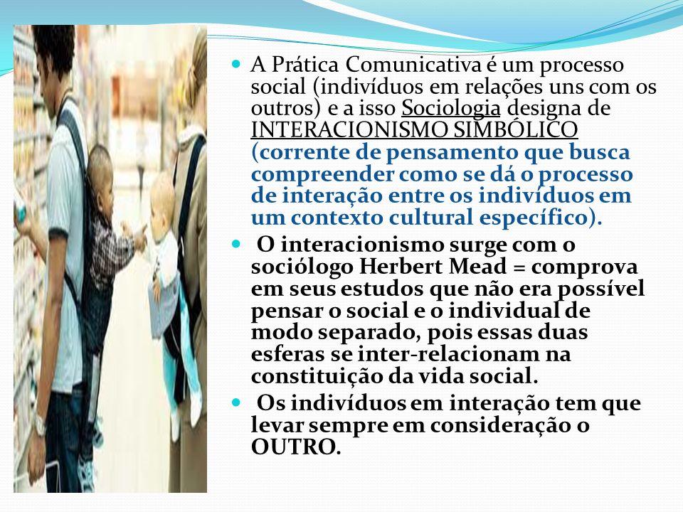 A Prática Comunicativa é um processo social (indivíduos em relações uns com os outros) e a isso Sociologia designa de INTERACIONISMO SIMBÓLICO (corren