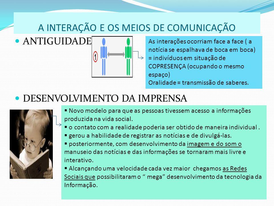 A INTERAÇÃO E OS MEIOS DE COMUNICAÇÃO ANTIGUIDADE DESENVOLVIMENTO DA IMPRENSA As interações ocorriam face a face ( a notícia se espalhava de boca em b