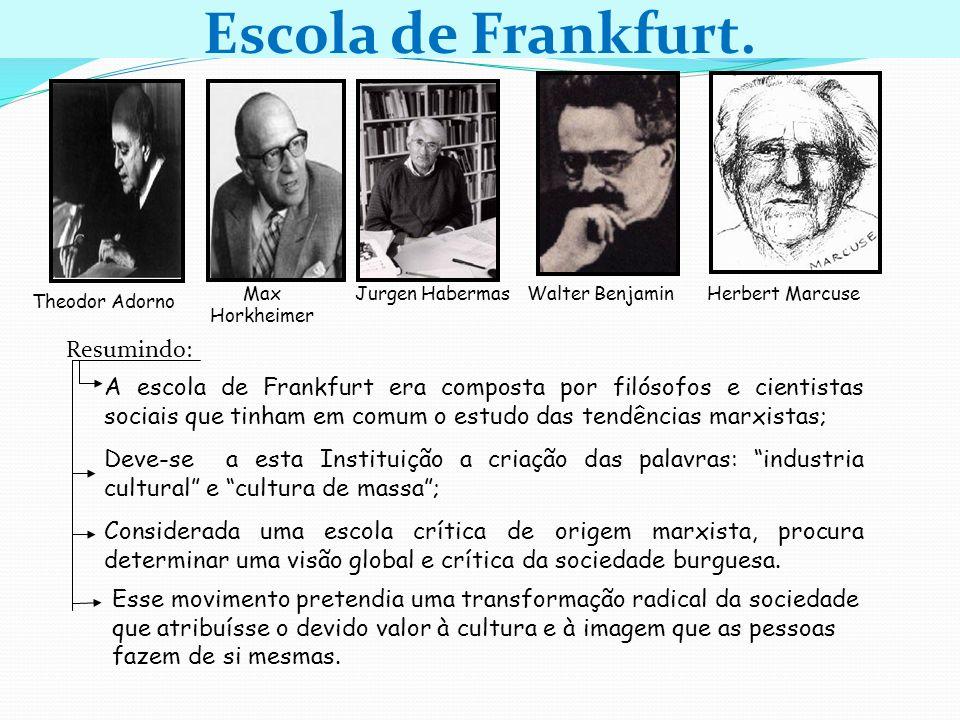 Theodor Adorno Jurgen HabermasWalter Benjamin Resumindo: A escola de Frankfurt era composta por filósofos e cientistas sociais que tinham em comum o e