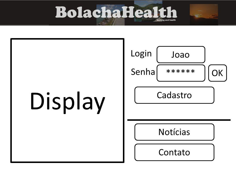 Display Joao Login ****** Senha OK Notícias Cadastro Contato