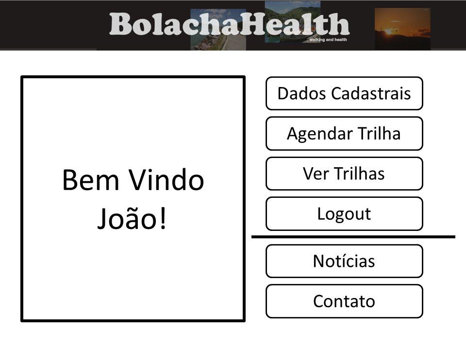 Bem Vindo João! Notícias Contato Logout Agendar Trilha Dados Cadastrais Ver Trilhas