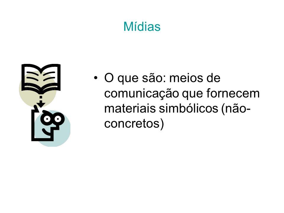 Mídias O que são: meios de comunicação que fornecem materiais simbólicos (não- concretos)