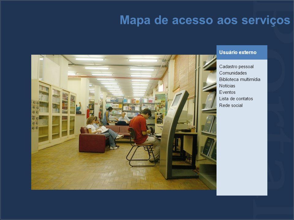 Usuário externo Cadastro pessoal Comunidades Biblioteca multimídia Notícias Eventos Lista de contatos Rede social Mapa de acesso aos serviços