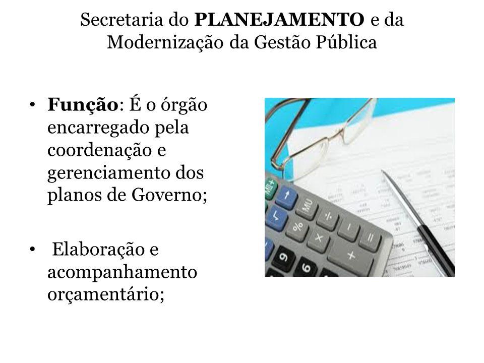 Secretaria do PLANEJAMENTO e da Modernização da Gestão Pública Função: É o órgão encarregado pela coordenação e gerenciamento dos planos de Governo; E