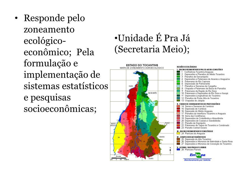 Responde pelo zoneamento ecológico- econômico; Pela formulação e implementação de sistemas estatísticos e pesquisas socioeconômicas; Unidade É Pra Já