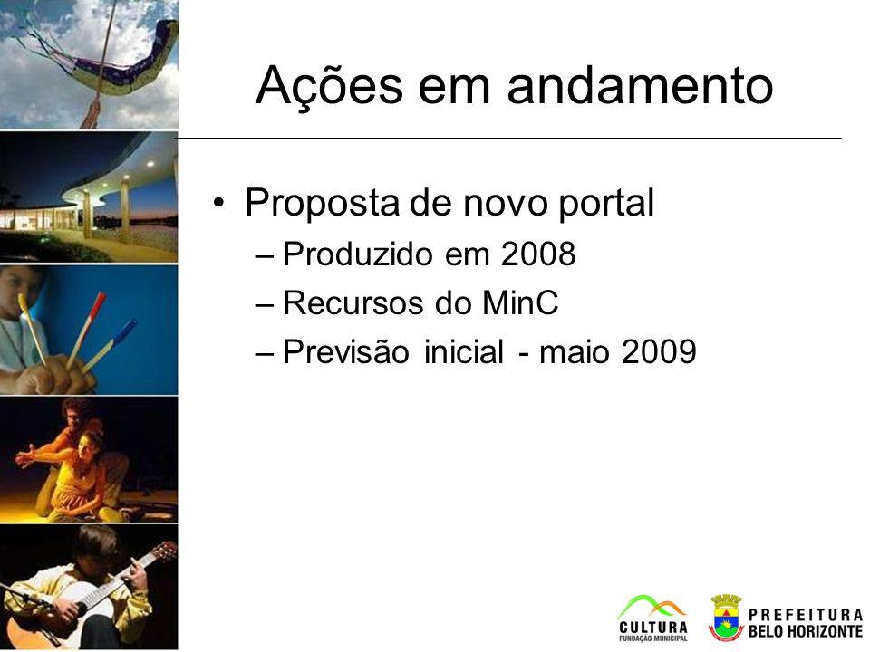 Ações em andamento Proposta de novo portal –Produzido em 2008 –Recursos do MinC –Previsão inicial - maio 2009