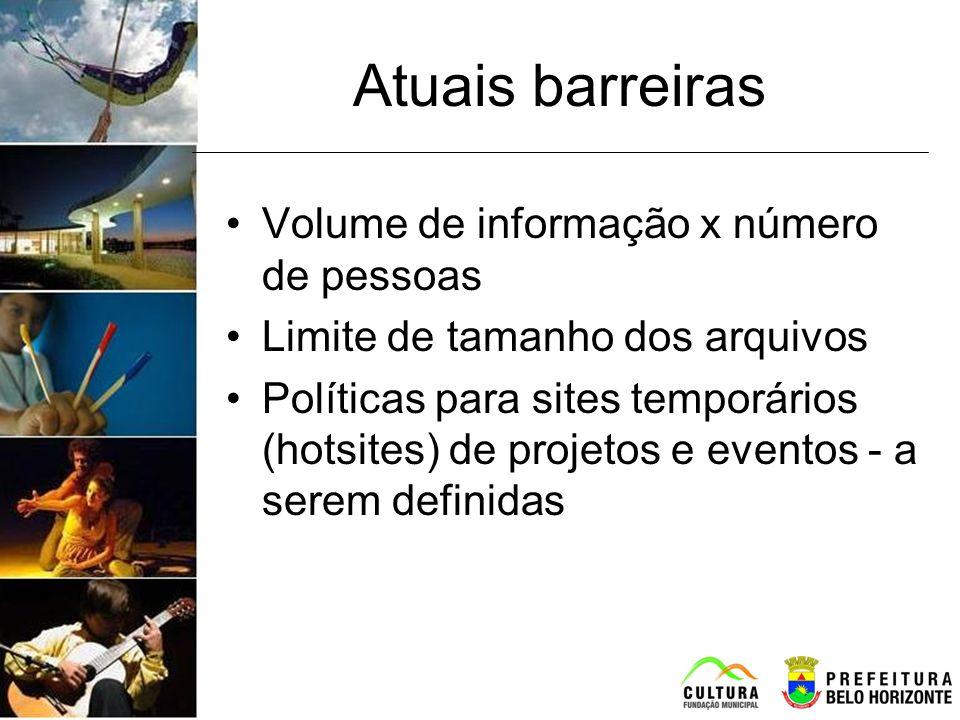Atuais barreiras Volume de informação x número de pessoas Limite de tamanho dos arquivos Políticas para sites temporários (hotsites) de projetos e eve