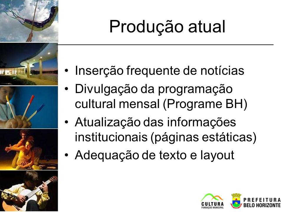 Produção atual Inserção frequente de notícias Divulgação da programação cultural mensal (Programe BH) Atualização das informações institucionais (pági