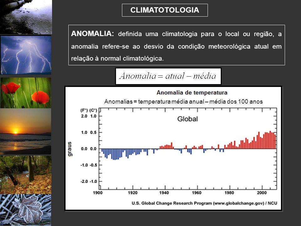 CLIMATOTOLOGIA ANOMALIA: definida uma climatologia para o local ou região, a anomalia refere-se ao desvio da condição meteorológica atual em relação à