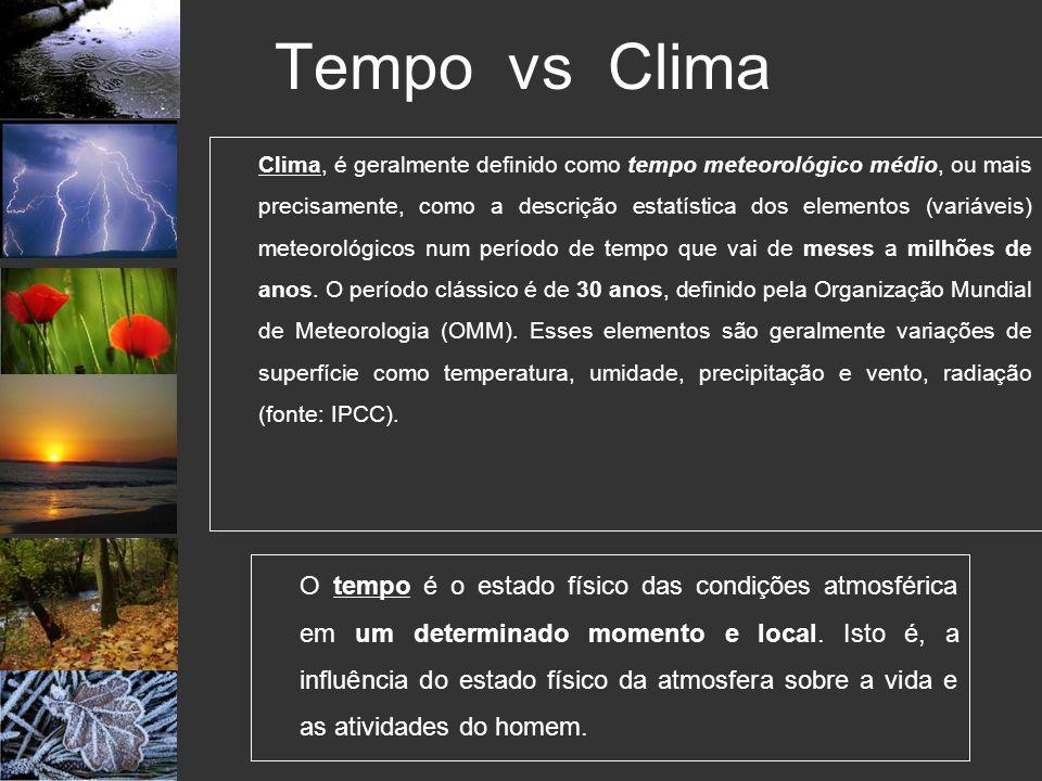 Tempo vs Clima Clima, é geralmente definido como tempo meteorológico médio, ou mais precisamente, como a descrição estatística dos elementos (variávei