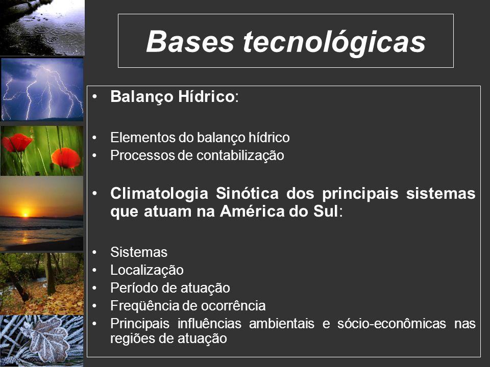 Balanço Hídrico: Elementos do balanço hídrico Processos de contabilização Climatologia Sinótica dos principais sistemas que atuam na América do Sul: S