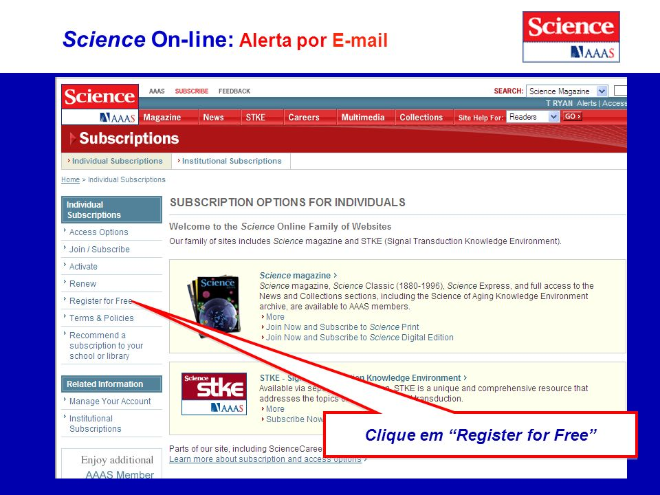 Science On-line: Alerta por E-mail Clique em Register for Free