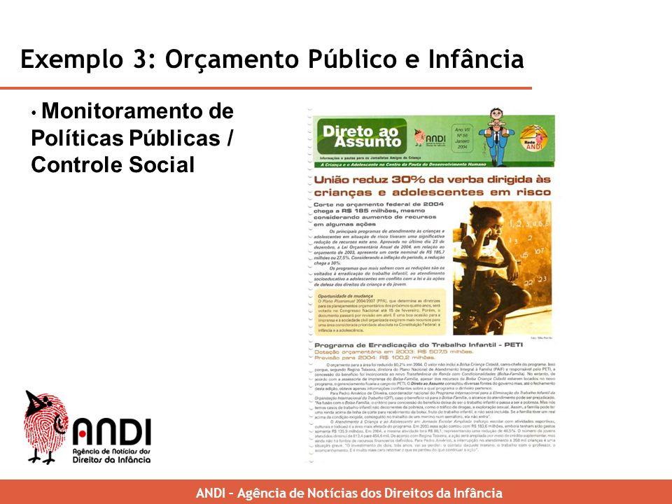 Monitoramento de Políticas Públicas / Controle Social Exemplo 3: Orçamento Público e Infância ANDI – Brazilian News Agency for Childrens Rights ANDI – Agência de Notícias dos Direitos da Infância