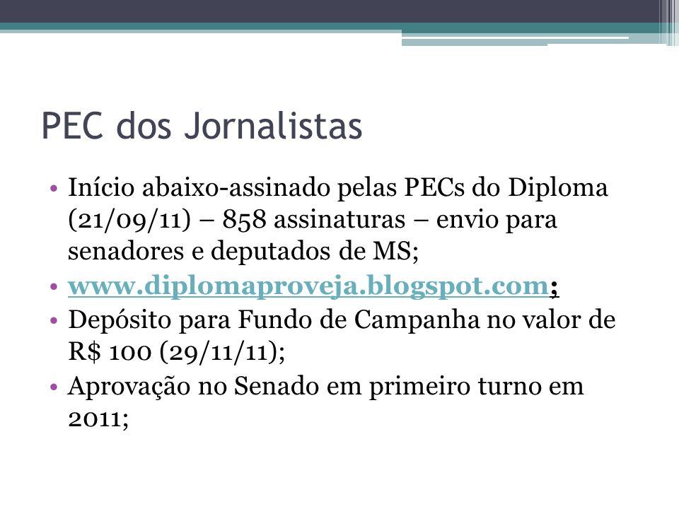 PEC dos Jornalistas Início abaixo-assinado pelas PECs do Diploma (21/09/11) – 858 assinaturas – envio para senadores e deputados de MS; www.diplomapro