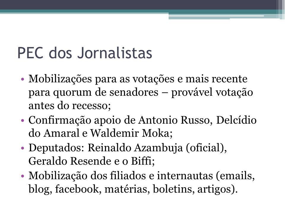PEC dos Jornalistas Mobilizações para as votações e mais recente para quorum de senadores – provável votação antes do recesso; Confirmação apoio de An