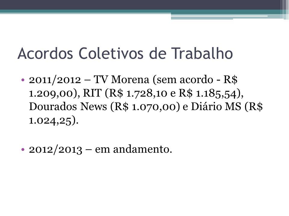 Acordos Coletivos de Trabalho 2011/2012 – TV Morena (sem acordo - R$ 1.209,00), RIT (R$ 1.728,10 e R$ 1.185,54), Dourados News (R$ 1.070,00) e Diário