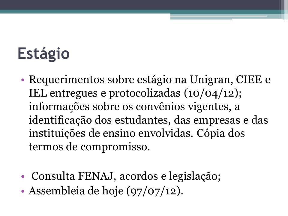 Estágio Requerimentos sobre estágio na Unigran, CIEE e IEL entregues e protocolizadas (10/04/12); informações sobre os convênios vigentes, a identific