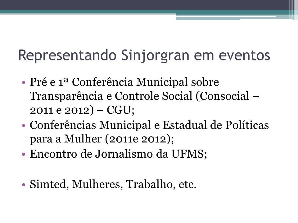 Representando Sinjorgran em eventos Pré e 1ª Conferência Municipal sobre Transparência e Controle Social (Consocial – 2011 e 2012) – CGU; Conferências