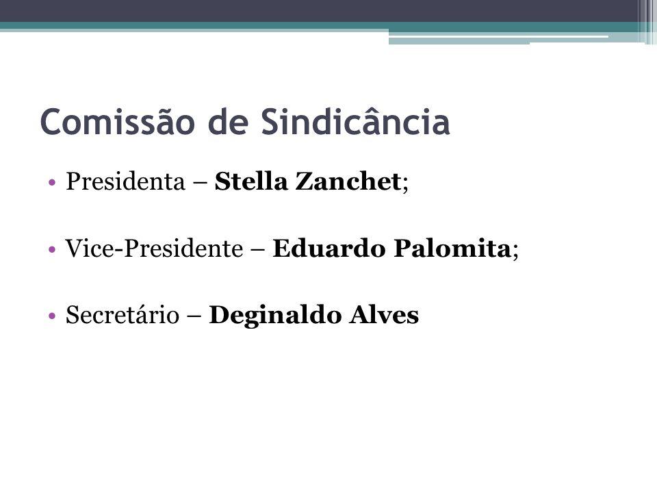 Comissão de Sindicância Presidenta – Stella Zanchet; Vice-Presidente – Eduardo Palomita; Secretário – Deginaldo Alves