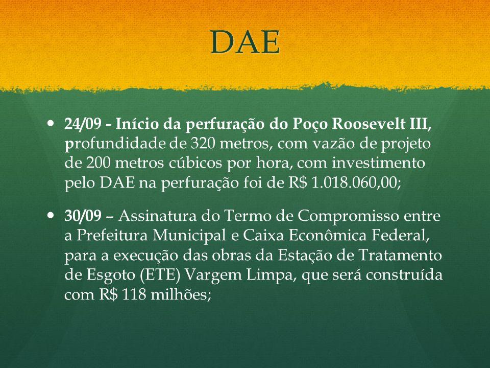 DAE 24/09 - Início da perfuração do Poço Roosevelt III, p rofundidade de 320 metros, com vazão de projeto de 200 metros cúbicos por hora, com investim