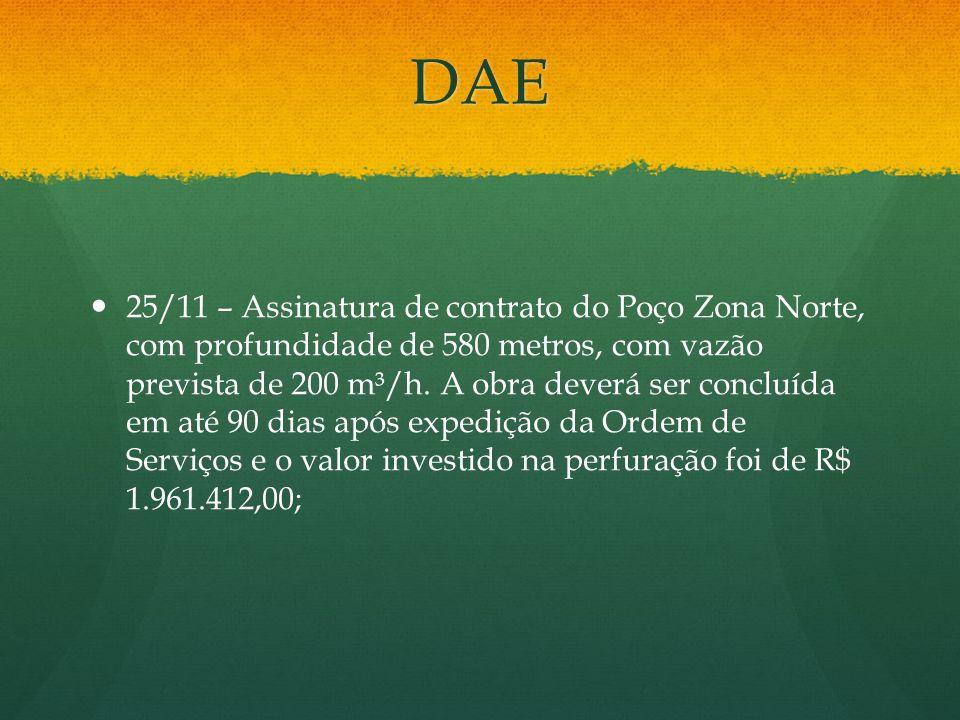 DAE 25/11 – Assinatura de contrato do Poço Zona Norte, com profundidade de 580 metros, com vazão prevista de 200 m³/h. A obra deverá ser concluída em