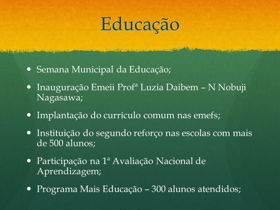 Educação Semana Municipal da Educação; Inauguração Emeii Profª Luzia Daibem – N Nobuji Nagasawa; Implantação do currículo comum nas emefs; Instituição