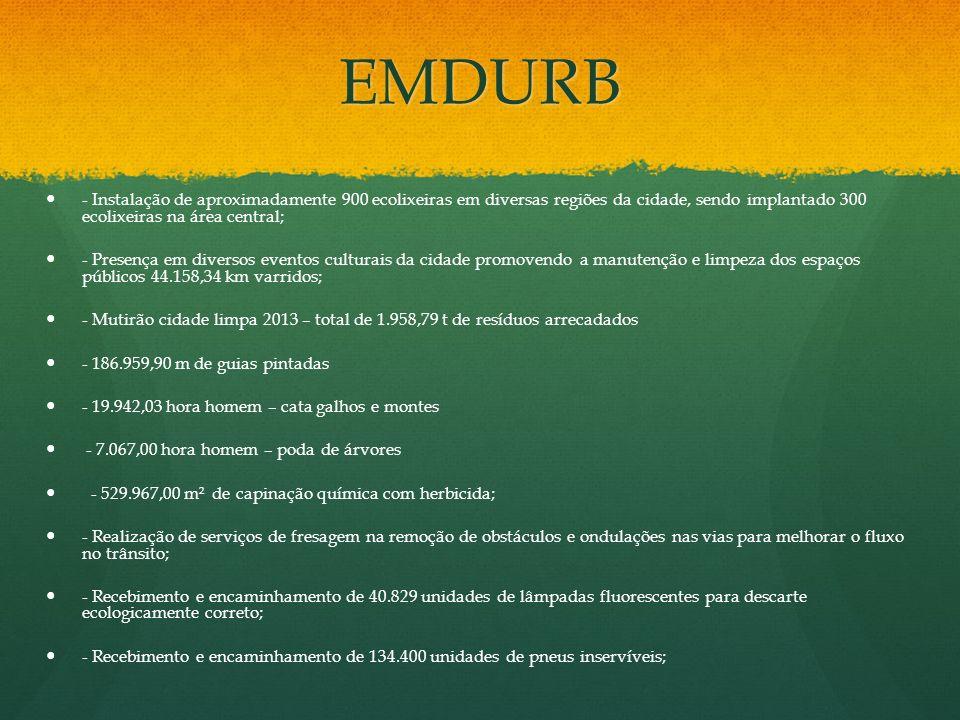 EMDURB - Instalação de aproximadamente 900 ecolixeiras em diversas regiões da cidade, sendo implantado 300 ecolixeiras na área central; - Presença em