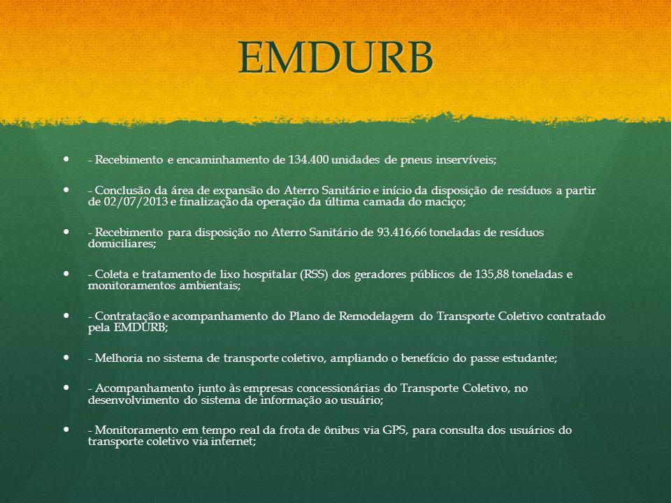 EMDURB - Conclusão da área de expansão do Aterro Sanitário e início da disposição de resíduos a partir de 02/07/2013 e finalização da operação da últi
