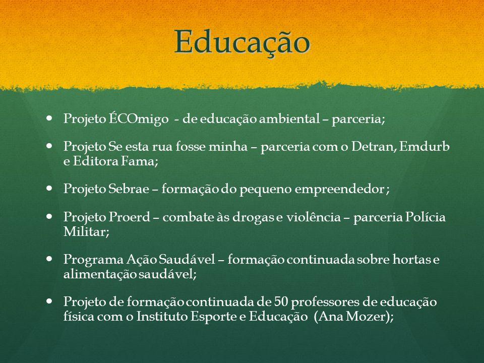 Educação Projeto ÉCOmigo - de educação ambiental – parceria; Projeto Se esta rua fosse minha – parceria com o Detran, Emdurb e Editora Fama; Projeto S