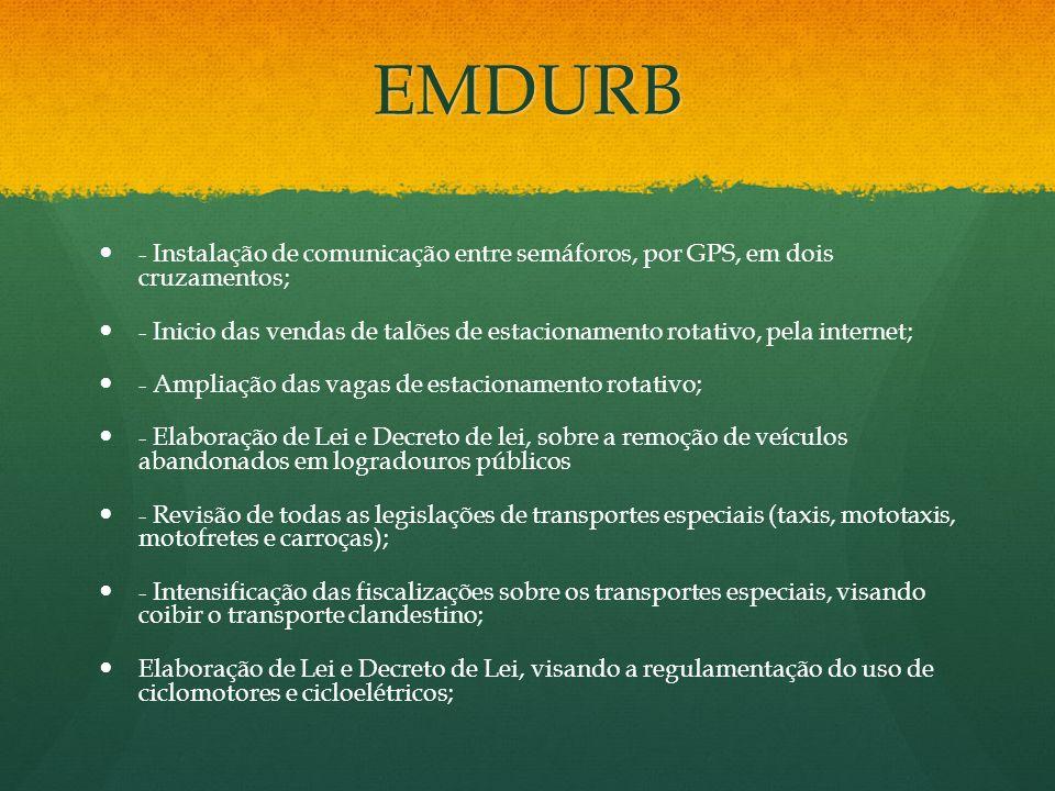 EMDURB - Instalação de comunicação entre semáforos, por GPS, em dois cruzamentos; - Inicio das vendas de talões de estacionamento rotativo, pela inter