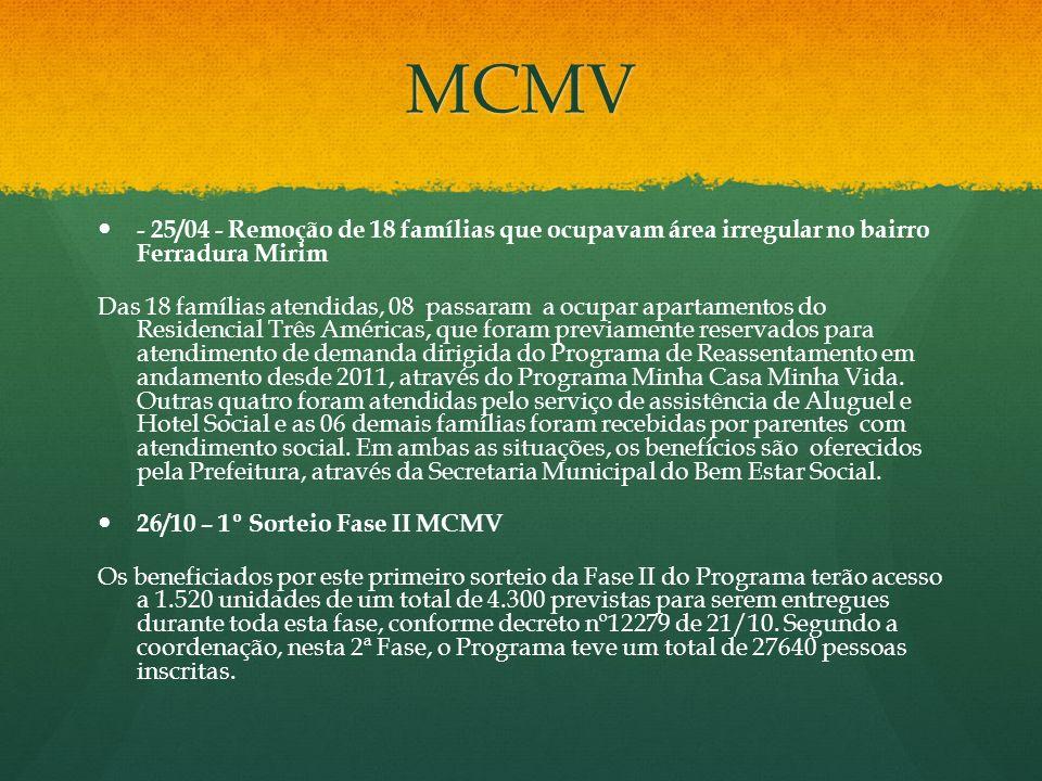 MCMV - 25/04 - Remoção de 18 famílias que ocupavam área irregular no bairro Ferradura Mirim Das 18 famílias atendidas, 08 passaram a ocupar apartament