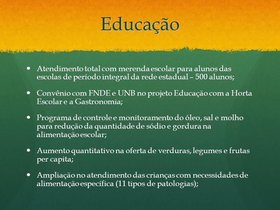 Educação Atendimento total com merenda escolar para alunos das escolas de período integral da rede estadual – 500 alunos; Convênio com FNDE e UNB no p